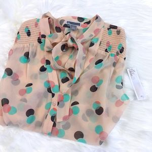 Chelsea 28 Nordstrom Peach Polka Bow Tie Blouse